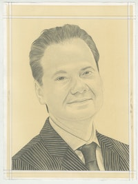 Portrait of Max Hollein, pencil on paper by Phong H. Bui.