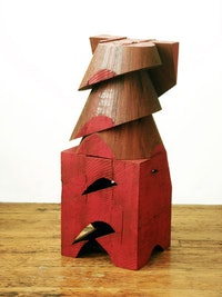 "<i>Mel Kendrick. ""Untitled (Red Blocks),"" (2007). Wood and Japan color. 31 3/4"" x 12 7/8"" x 12 1/8"". KEN1505</i>"