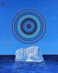 Scott McIntire, <em>The Last Iceberg</em>, 2020. Enamel on canvas, 60 x 40 inches. Courtesy the artist.