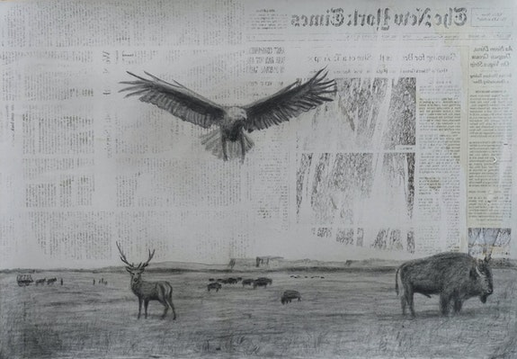 Adam Straus, <em>Once Upon a Time in America</em>, 2020. Graphite and transferred newspaper on gray paper, 15 x 22 inches. Courtesy the artist.