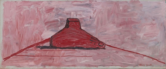 Philip Guston, <em>Relic</em>, 1974. Oil on canvas, 35 1/2 x 85 1/4 inches. © The Estate of Philip Guston, courtesy Hauser & Wirth.