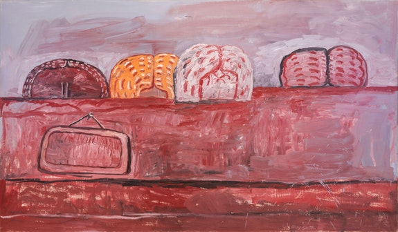 Philip Guston, <em>Four Heads, </em>1975. Oil on canvas, 67 x 114 1/2 inches.  © The Estate of Philip Guston, courtesy Hauser & Wirth.</p>