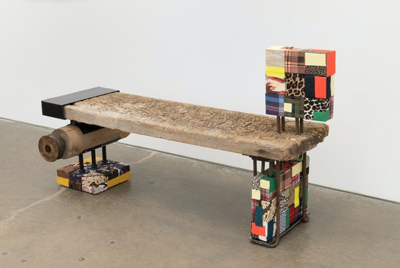 Nancy Shaver, <em>Bench</em>, 2019. Wood, metal, blockers, 58 x 32 x 24 inches. Courtesy Derek Eller, New York.