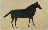 Bill Traylor, <em>Black Horse</em>, 1939-42. Pencil and poster paint on cardboard, 14 x 22 inches. Courtesy Andrew Edlin, New York.