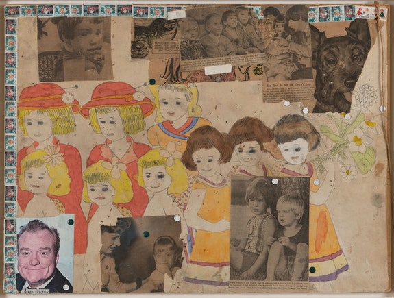 Henry Darger, <em>Untitled (She Got to Sit on Ringo's Lap)</em>, c. 1966-67. Mixed media on paper, 18 x 24 inches. Courtesy Andrew Edlin, New York.