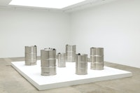 Susan Philipsz, <em>Sleep Close and Fast</em>, 2020. Seven-channel sound installation, steel oil drums, speakers, amplifiers, media player, dimensions variable. Courtesy Tanya Bonakdar, Los Angeles.