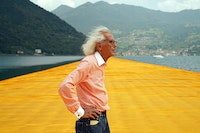 Christo at The Floating Piers, June 2016. Courtesy Christo and Jeanne-Claude. Photo: Wolfang Volz.
