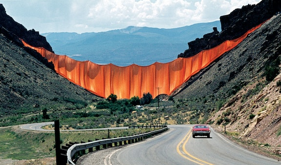 Valley Curtain, Rifle, Colorado, 1970-72. Courtesy Christo and Jeanne-Claude. Photo: Wolfang Volz.