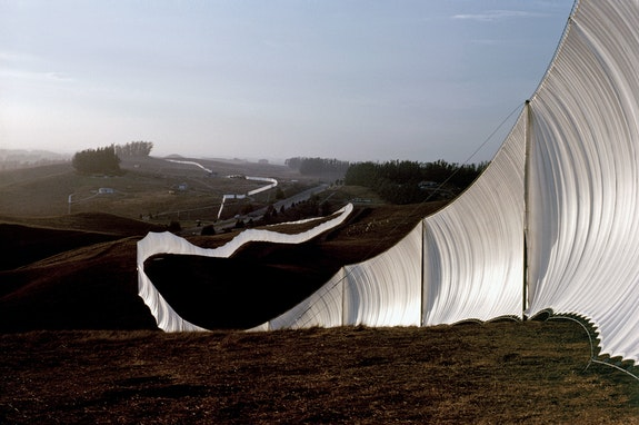 Running Fence, Sonoma and Marin Counties, California, 1972-76. Courtesy Christo and Jeanne-Claude. Photo: Wolfang Volz.