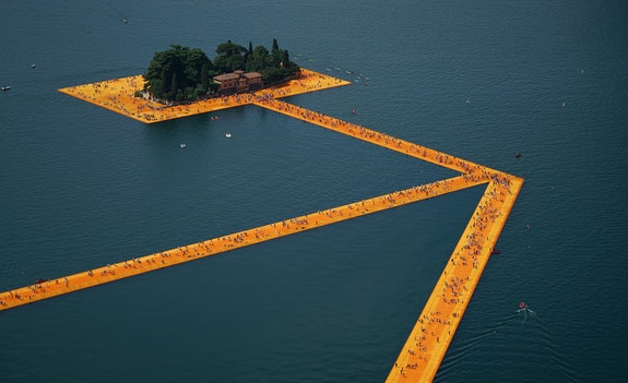 The Floating Piers, Lake Iseo, Italy, 2014-16. Courtesy Christo and Jeanne-Claude. Photo: Wolfang Volz.