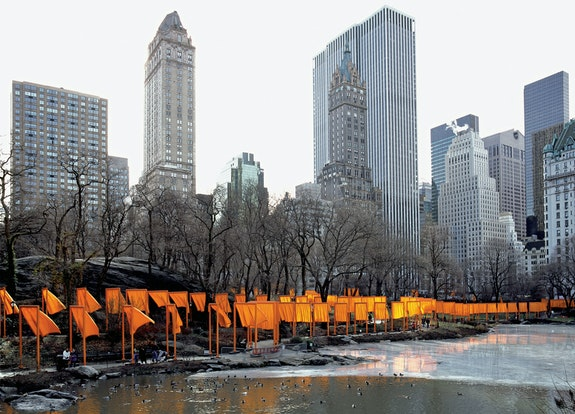 The Gates, Central Park, New York City, 1979-2005. Courtesy Christo and Jeanne-Claude. Photo: Wolfang Volz.