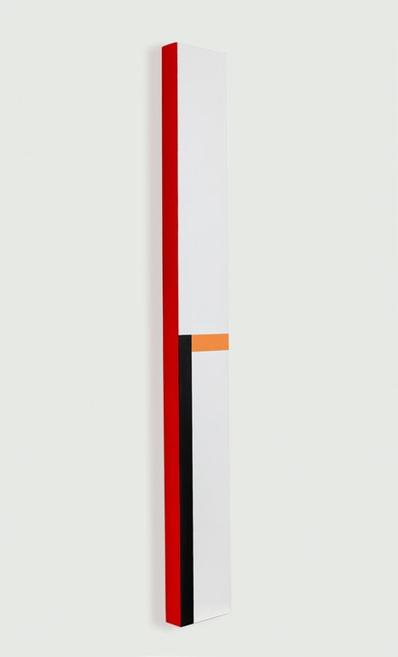 César Paternosto, <em>Vertical, Lateral Red</em>, 2017. Oil on canvas, 67 x 8 x 2 3/4 inches. Courtesy MC/MC Gallery, Buenos Aires.