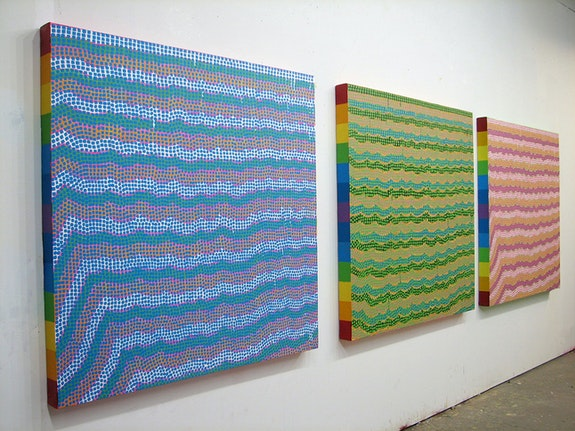 Maija Miettinen, installation view: <em>Occhiolism (blue, pink, and green) triptych</em>, 2015. Courtesy the artist.