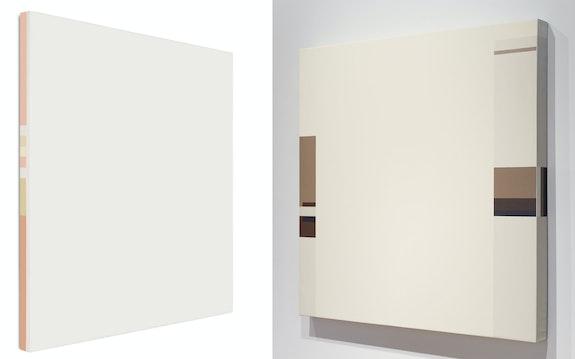 Left: César Paternosto, Tlön, 1969. Acrylic emulsion on canvas, 48 x 48 x 3 inches. Right: <em>Uqbar</em>, 1975. Acrylic emulsion on canvas; 58 1/2 x 59 inches. Courtesy Cecilia de Torres Ltd., New York.