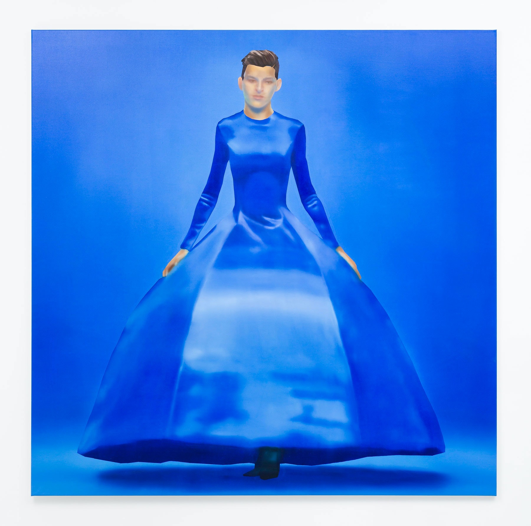 Rute Merk, <em>BALENCIAGA, SS20, Look 89</em>, 2019. Oil on canvas, 86 1/2 x 86 1/2 inches. Courtesy the artist and Downs & Ross, New York. Photo: Daniel Terna.