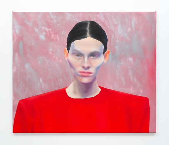 Rute Merk, <em>BALENCIAGA, SS20, Look 7</em>, 2019. Oil on canvas, 27 x 32 1/4 inches. Courtesy the artist and Downs & Ross, New York. Photo: Daniel Terna.