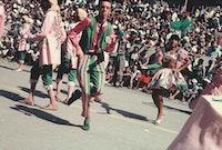 Hélio Oiticica parading with the Samba School Estação Primeira de Mangueira, Rio de Janeiro, circa 1965-1966. Courtesy the Hélio Oiticica project.