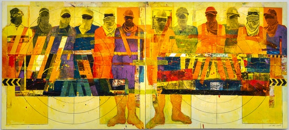 Faraj Daham, <em>Street Language</em>, 2012. Diptych, mixed media on canvas, 180 x 400 centimeters. Exhibition view of <em>Our World is Burning</em>, Palais de Tokyo. Courtesy of Mathaf: Arab Museum of Modern Art (Doha). Photo: Marc Domag.