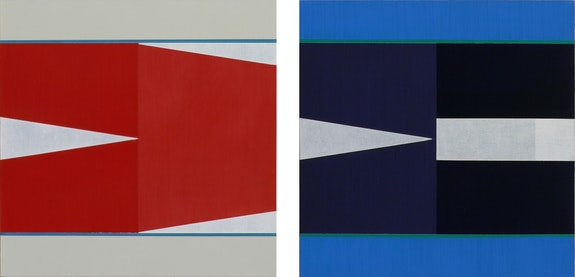 Left: Don Voisine, <em>Lipstick Traces</em>, 2020. Oil on wood panel, 10 x 10 inches. Right: <em>The Morning After</em>, 2020, oil on wood panel, 10 x 10 inches. Courtesy Pamela Salisbury Gallery, Hudson, NY.