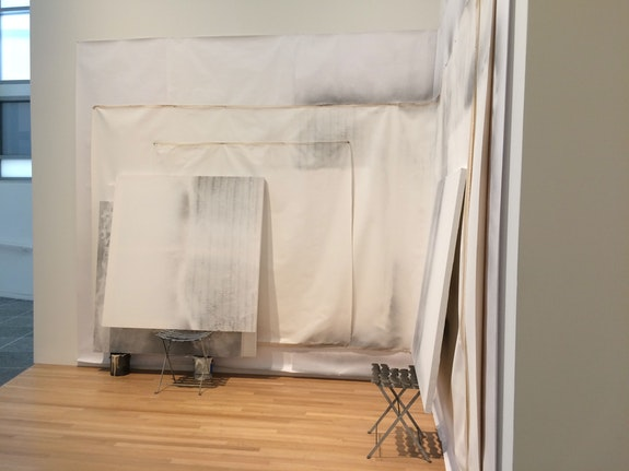 Laura Lisbon, <em>Set-up, corner 2</em>, installation view, 2017. Courtesy the artist.