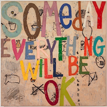 Squeak Carnwath, <em>Will It</em>, 2020. Oil and alkyd on canvas over panel, 77 x 77 inches. Courtesy the artist. Photo: M. Lee Fatherree.