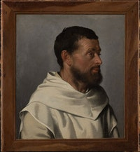 Giovanni Battista Moroni, <em>Lay Brother with a Fictive Frame</em>, ca. 1557. Städel Museum, Frankfurt.