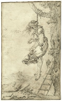 Follower of Jacques de Gheyn III, <em>Allegory of the Demise of Painting</em>, early 17th century. Pen and ink, 11 5/8 x 8 1/4 inches. Grisebach Auction (Berlin) 25-26 October, 2018, lot nr. 6.