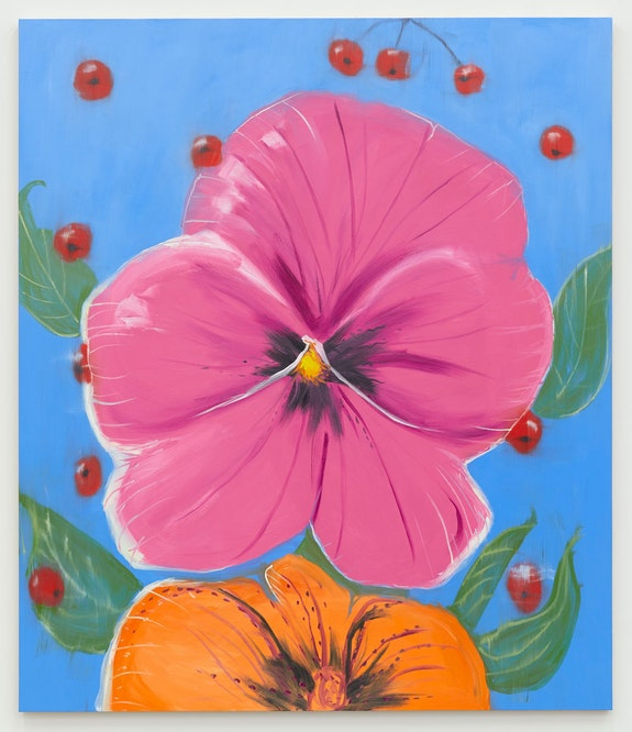 Ann Craven, <em>Pensée (Big Pink, Orange, on Blue with Cherries)</em>, 2020, Oil on canvas, 84 x 72 inches. Courtesy the artist and Karma, New York.