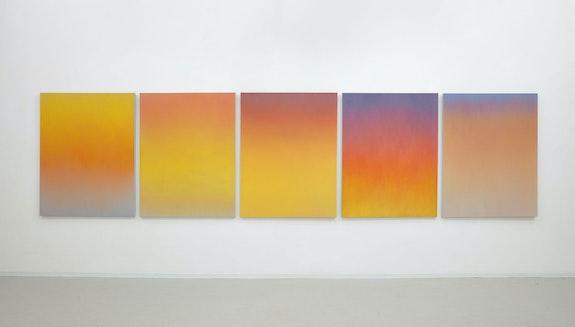 Installation view: <em>Isaac Aden: Vespers and Auroras</em>, David RIchard Gallery, New York, 2020. © Isaac Aden. Courtesy David Richard Gallery.