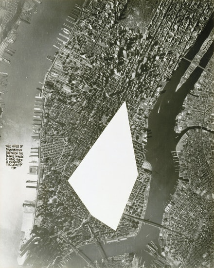 Sol LeWitt, <em>The Area of Manhatten </em>[sic]<em> Between The Places Where I Have Lived Is Removed</em>, 1980. Silver gelatin print, 19 1/4 × 15 1/4 in. (48.9 × 38.7 cm). Addison Gallery of American Art, Andover, MA, gift of Suzanne Hellmuth and Jock Reynolds (PA 1965), 1995.65.
