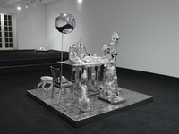 Will Ryman, <em>Dinner III</em>, 2019-2020. Stainless steel, 74 x 82 1/2 x 82 3/4 inches. © Will Ryman. Courtesy the artist and CHART.