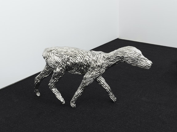 Will Ryman, <em>Walking Dog</em>, 2020. Stainless steel, 25 x 4 x 15 inches. © Will Ryman. Courtesy the artist and CHART.