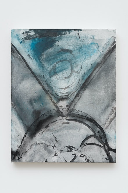 Luchita Hurtado, <em>Untitled (Birthing Mother Earth)</em>, 2018. Acrylic and ink on linen, 24 x 19 x 1 5/8 inches. © Luchita Hurtado. Courtesy the artist and Hauser & Wirth. Photo: Thomas Barratt.