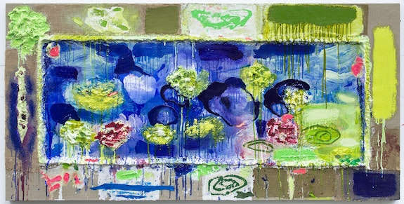Joan Snyder, <em>Paint A Pond</em>, 2019. Oil, acrylic, burlap, paper on canvas, 32 x 64 inches. Courtesy Canada Gallery, New York.