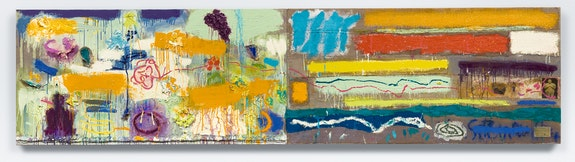 Joan Snyder, <em>Anatomy of a Summer Painting</em>, 2019. Oil, acrylic, paper mache, burlap, paper on linen, 32 x 128 inches. Courtesy Canada Gallery, New York.
