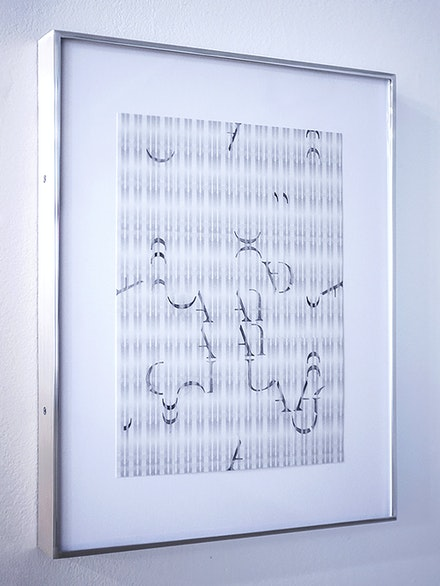 Jesse Chun, <em>score (for unlanguaging)</em>, 2020. Graphite, watermarks, paper, aluminum frame, 13 x 16 inches