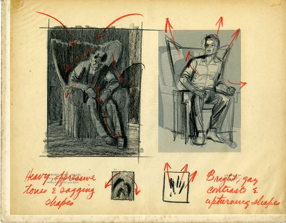 Drawing by W. Mark Shaw for the Famous Artists Correspondence School with instructor critiques. Courtesy the artist and Metro Pictures, New York.
