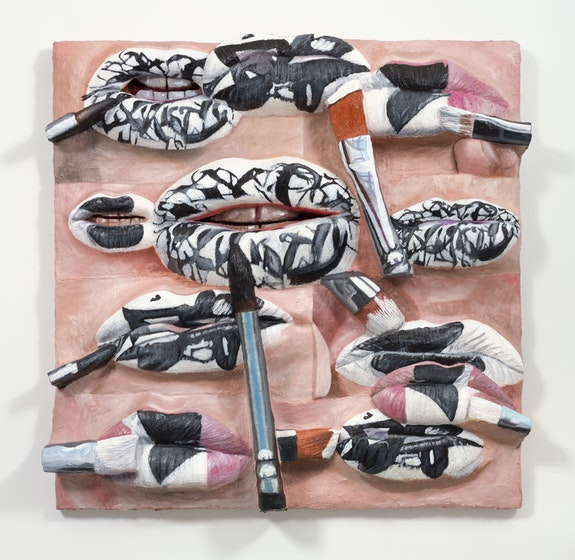 Gina Beavers, <em>The Artist's Lips with Pollock, Kelly, and Kline</em>, 2020. Acrylic on linen on panel, 72 x 72 inches. Courtesy the artist and Marianne Boesky Gallery, New York and Aspen. © Gina Beavers. Photo: Lance Brewer.