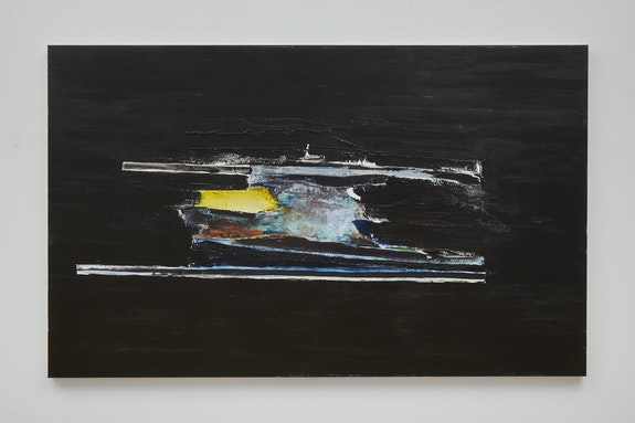 Erik Lindman, <em>Blackwater</em>, 2019–20. Acrylic, collaged canvas and canvas webbing on linen, 70 7/8 × 43 1/4 inches. Courtesy the artist and Peter Blum Gallery, New York. Photo: Jason Wyche.