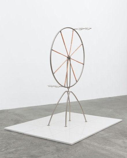 Julia Phillips, <em>Negotiator (#1)</em>, 2020. Ceramic, stainless steel, marble 77 x 59 x 79 inches. © Julia Phillips, Courtesy Matthew Marks Gallery