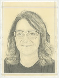 Portrait of Gina Beavers, pencil on paper by Phong H. Bui.