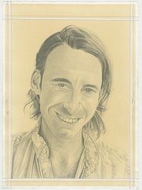 Portrait of Erik Lindman, pencil on paper by Phong H. Bui.
