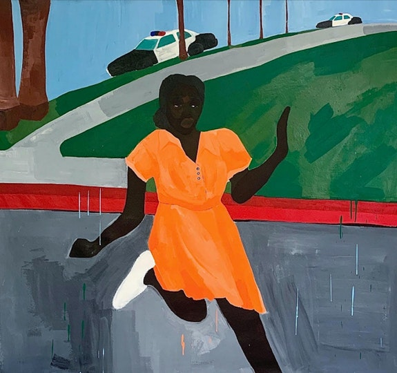 Alvin Armstrong, <em>Pigs at Play</em>, 2020. Acrylic on canvas, 65 x 70 inches. Courtesy Medium Tings.
