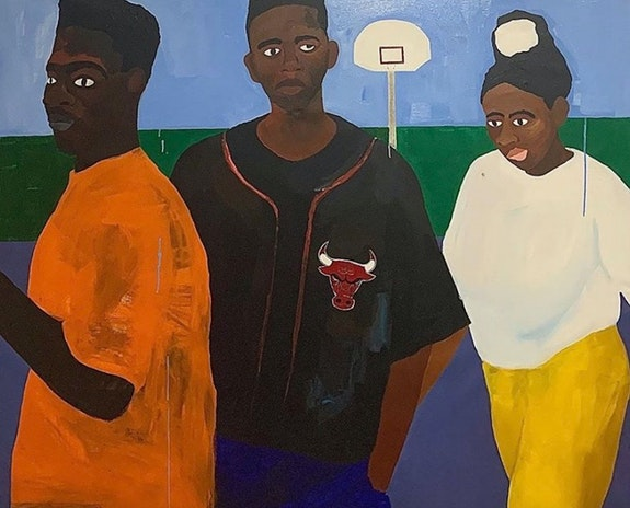 Alvin Armstrong, <em>Ball isn't life</em>, 2020. Acrylic on canvas, 58 x 69 inches. Courtesy Medium Tings.