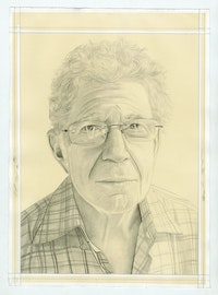 Portrait of Richard Shiff, pencil on paper by Phong H. Bui.