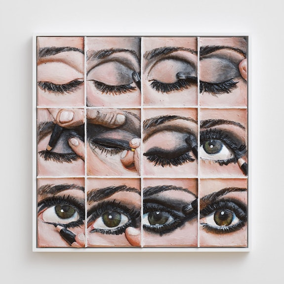 Gina Beavers, <em>Smoky Eye Every Step</em>, 2020. Acrylic and foam on linen on panel, 96 x 72 x 6 inches. Courtesy the artist and Marianne Boesky Gallery, New York and Aspen. © Gina Beavers. Photo: Lance Brewer.