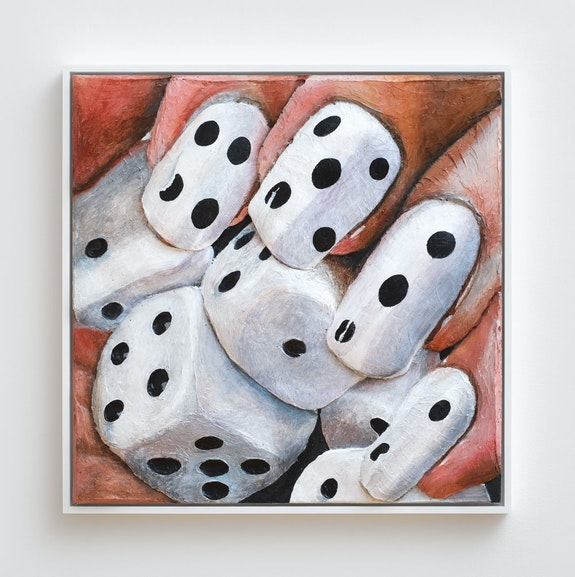 Gina Beavers, <em>Dice Nail Love</em>, 2014. Acrylic on canvas panel with wood frame. Courtesy the artist and Marianne Boesky Gallery, New York and Aspen. © Gina Beavers.