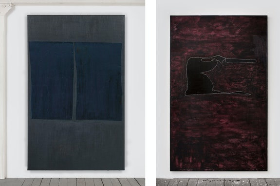 Left: Erik Lindman, Untitled, 2014. Found surfaces (aluminum) and oil on hemp over panel, 96 x 60 inches. Right: Untitled, 2014–15. Oil on linen over panel, 96 x 60 inches. Courtesy the artist and Almine Rech Gallery.