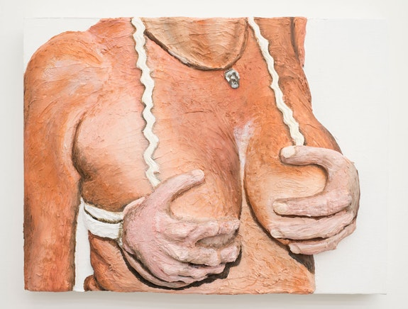 Gina Beavers,<em> Hand bra</em>, 2015. Acrylic on canvas on panel, 12 × 16 inches. Courtesy the artist.