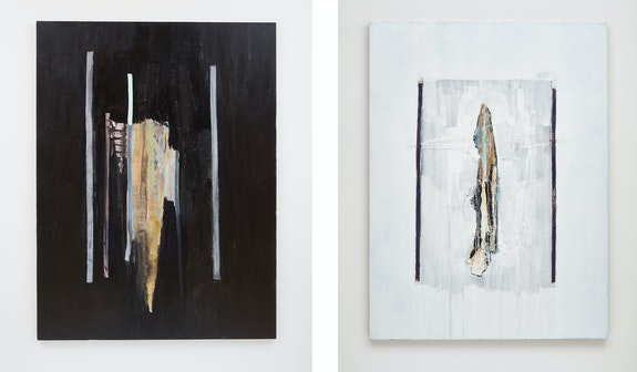 Left: Erik Lindman, <em>Galehaut</em>, 2020. Acrylic, collaged canvas and canvas webbing on linen, 78 3/4 x 59 1/8 inches. Right: <em>Silent Sun</em>, 2020. Acrylic and collaged canvas webbing on linen 78 3/4 x 59 1/8 inches. Courtesy the artist and Peter Blum Gallery, New York. Photos: Jason Wyche.